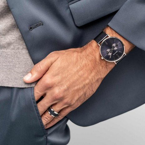 Black Gents Quartz Watch with DayDate Collection Automne-Hiver Bering