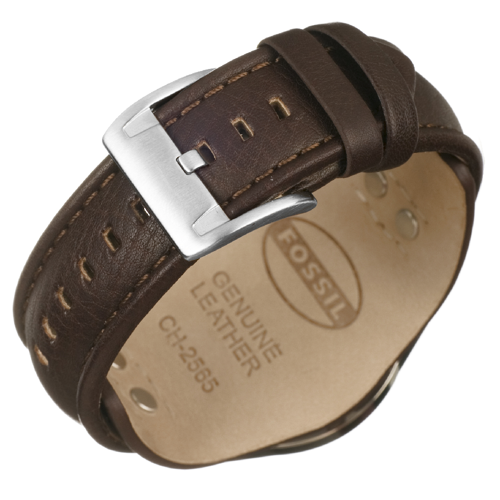 b8d35520982e Steel   Brown Chrono with Date on Cuff Strap Spring Summer Collection Fossil