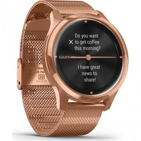 18K Rose Gold Hybrid Smartwatch with hidden touchscreen Collection Printemps-Eté Garmin