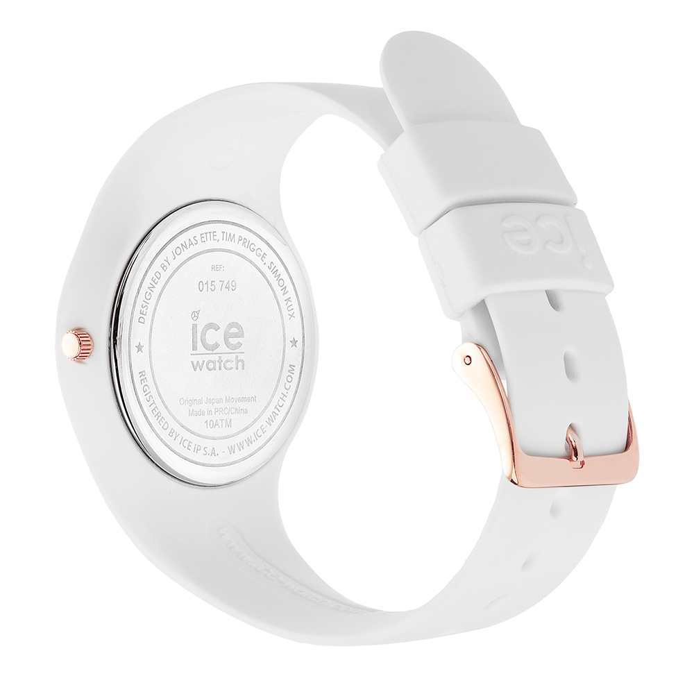 b85b705f1db41 Rose Gold & White Silicone Watch Size Medium Collection Printemps-Eté Ice- Watch