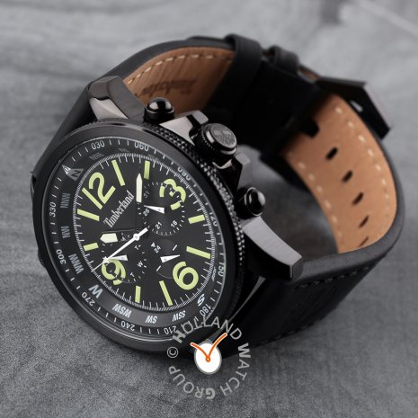 Black coated steel gents watch with day-date Collection Printemps-Eté Timberland